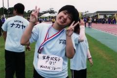 400メートルリレーで銅メダル取ったヨ!笑顔でピース!